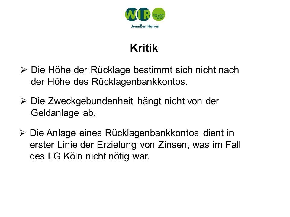 Entnahme aus der Rücklage LG Köln v.