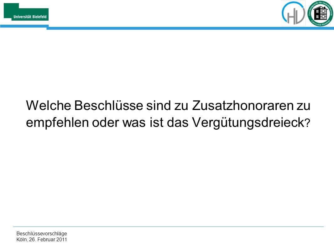 Beschlüssevorschläge Köln, 26. Februar 2011 Welche Beschlüsse sind zu Zusatzhonoraren zu empfehlen oder was ist das Vergütungsdreieck ?