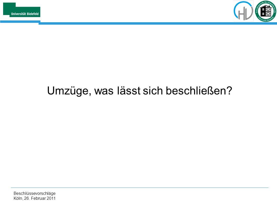 Beschlüssevorschläge Köln, 26. Februar 2011 Umzüge, was lässt sich beschließen?