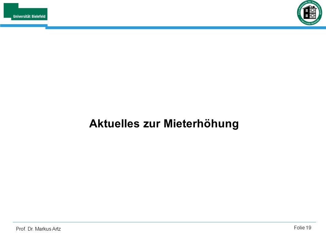 Prof. Dr. Markus Artz Folie 19 Aktuelles zur Mieterhöhung