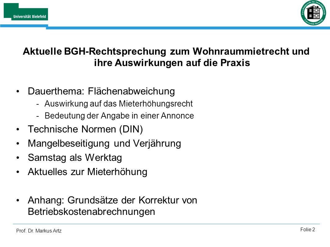 Prof. Dr. Markus Artz Folie 2 Aktuelle BGH-Rechtsprechung zum Wohnraummietrecht und ihre Auswirkungen auf die Praxis Dauerthema: Flächenabweichung -Au