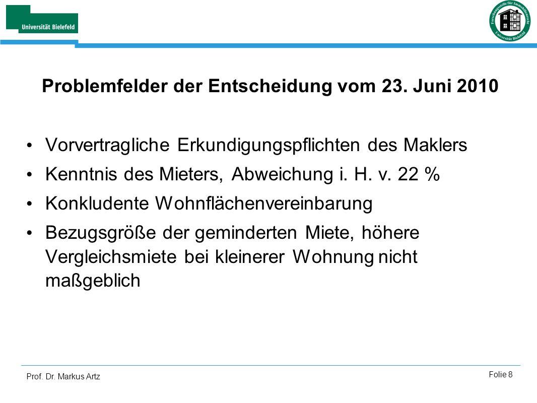 Prof. Dr. Markus Artz Folie 8 Problemfelder der Entscheidung vom 23. Juni 2010 Vorvertragliche Erkundigungspflichten des Maklers Kenntnis des Mieters,