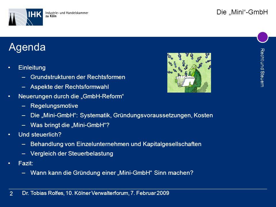 Die Mini-GmbH Recht und Steuern Dr. Tobias Rolfes, 10. Kölner Verwalterforum, 7. Februar 2009 2 Agenda Einleitung –Grundstrukturen der Rechtsformen –A