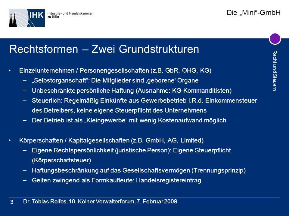 Die Mini-GmbH Recht und Steuern Dr. Tobias Rolfes, 10. Kölner Verwalterforum, 7. Februar 2009 3 Rechtsformen – Zwei Grundstrukturen Einzelunternehmen