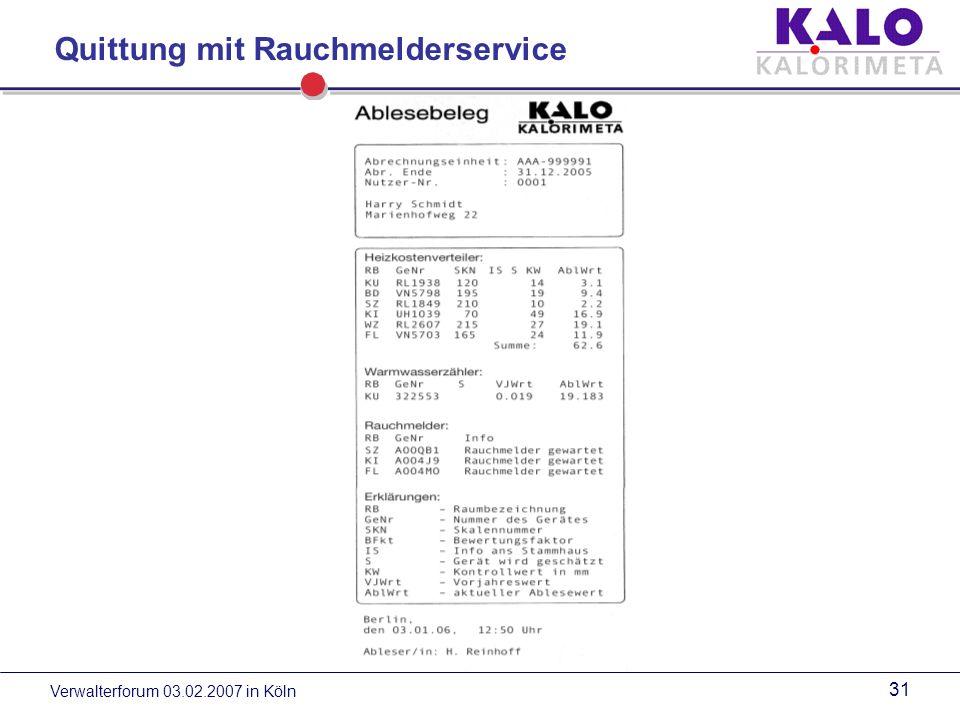 Verwalterforum 03.02.2007 in Köln 30 KALORIMETA - Ablesebeleg - Dokumentation der Ablesung für den Nutzer - keine Diskussionen mit Mietervereinen und Gerichten - vertrauensbildende Maßnahme KALO-Vorteile