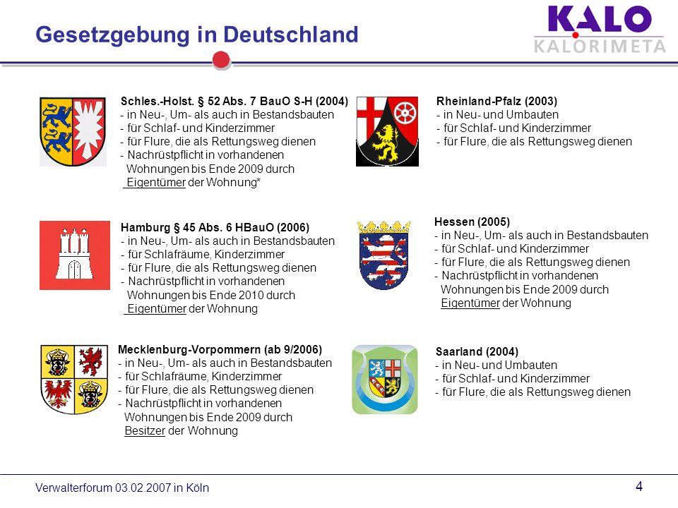 Verwalterforum 03.02.2007 in Köln 14 Einbauvorschriften / Mindestanforderung Die Montage und den Betrieb von Rauchwarnmeldern regelt die DIN 14 676 vom August 2006.
