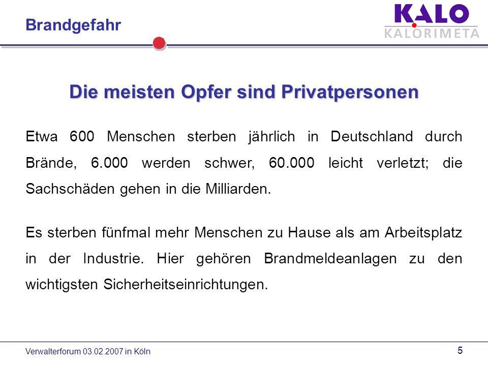 Verwalterforum 03.02.2007 in Köln 5 Die meisten Opfer sind Privatpersonen Etwa 600 Menschen sterben jährlich in Deutschland durch Brände, 6.000 werden schwer, 60.000 leicht verletzt; die Sachschäden gehen in die Milliarden.