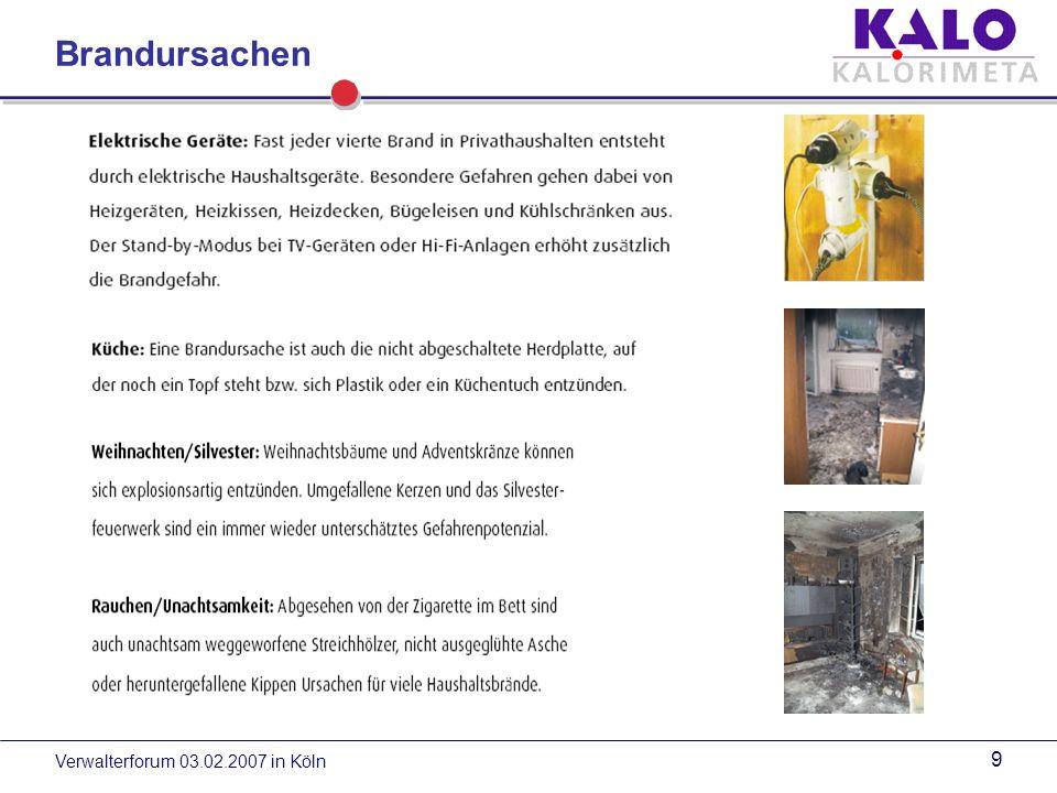 Verwalterforum 03.02.2007 in Köln 9 Brandursachen