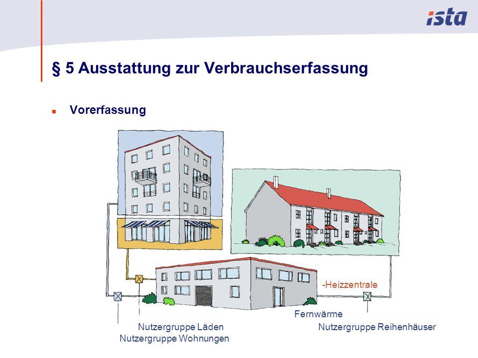 Max Mustermann · Name der Präsentation · 00 Monat 2004 · Seite 0 § 5 Ausstattung zur Verbrauchserfassung n Vorerfassung Nutzergruppe Wohnungen Nutzergruppe LädenNutzergruppe Reihenhäuser -Heizzentrale Fernwärme