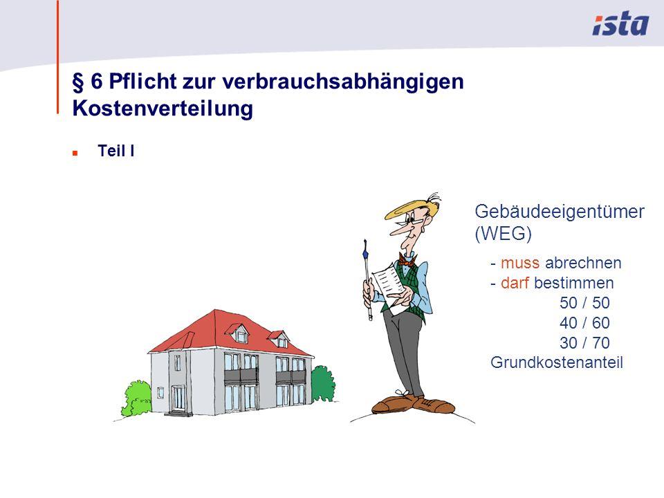 Max Mustermann · Name der Präsentation · 00 Monat 2004 · Seite 0 § 6 Pflicht zur verbrauchsabhängigen Kostenverteilung n Teil I Gebäudeeigentümer (WEG) - muss abrechnen - darf bestimmen 50 / 50 40 / 60 30 / 70 Grundkostenanteil