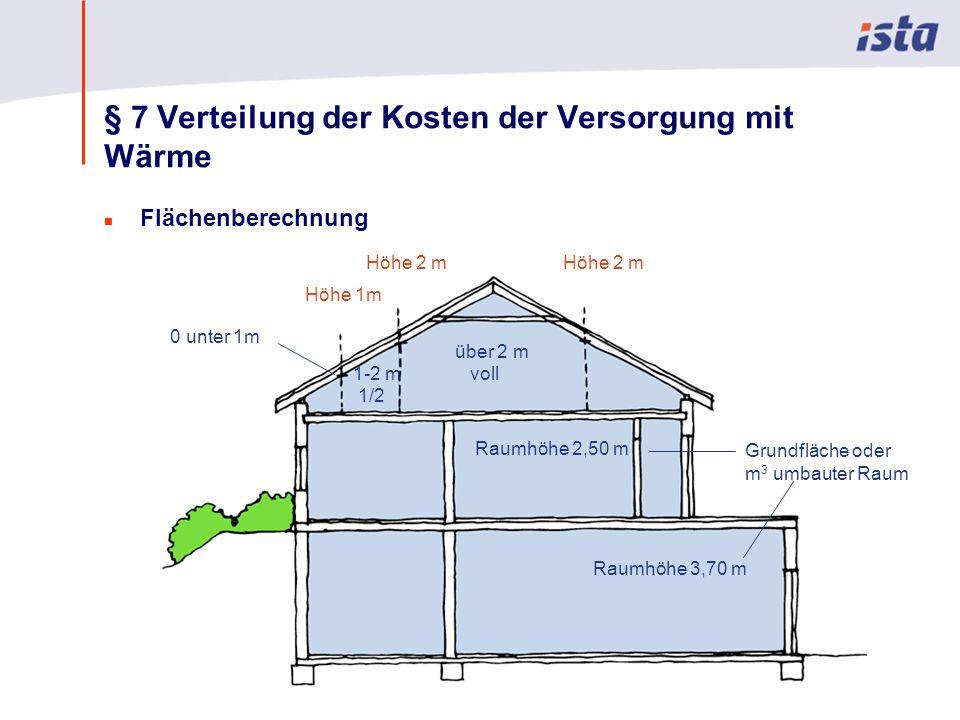 Max Mustermann · Name der Präsentation · 00 Monat 2004 · Seite 0 § 7 Verteilung der Kosten der Versorgung mit Wärme n Flächenberechnung Höhe 2 m 0 unter 1m 1-2 m 1/2 über 2 m voll Raumhöhe 2,50 m Raumhöhe 3,70 m Grundfläche oder m 3 umbauter Raum Höhe 1m