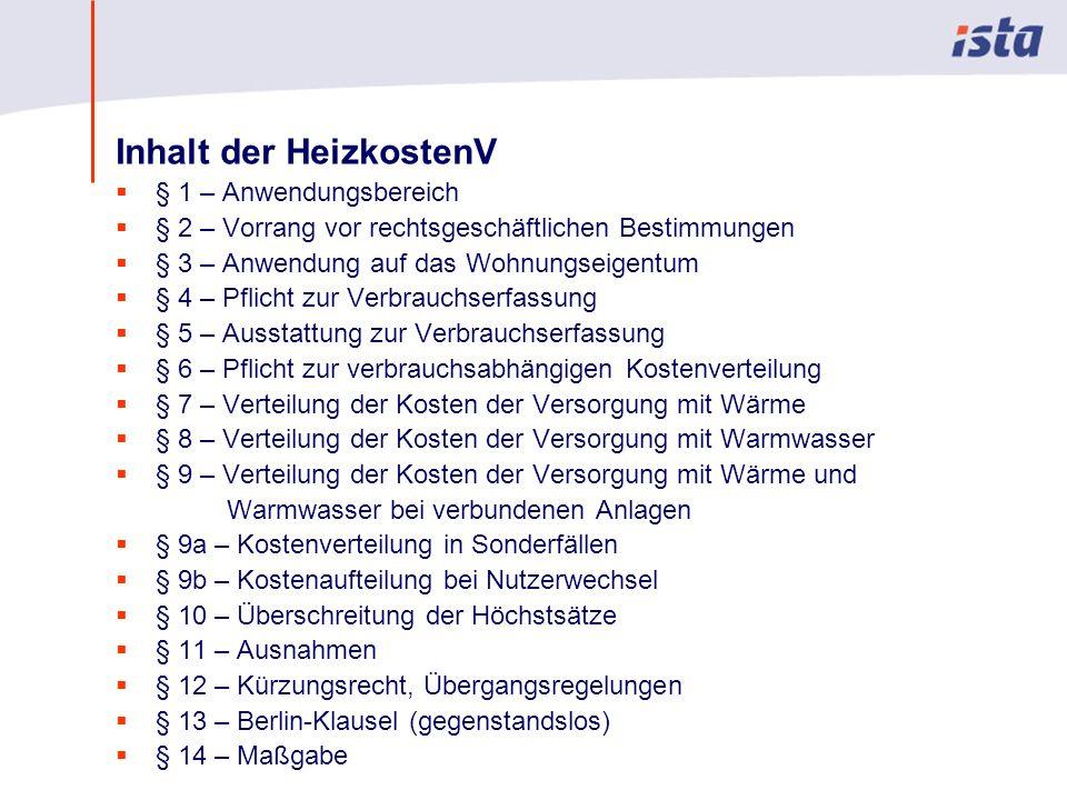 Max Mustermann · Name der Präsentation · 00 Monat 2004 · Seite 0 Inhalt der HeizkostenV § 1 – Anwendungsbereich § 2 – Vorrang vor rechtsgeschäftlichen
