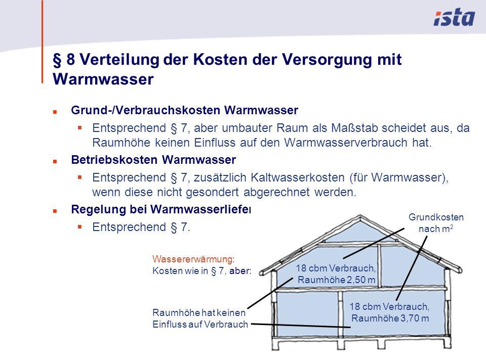 Max Mustermann · Name der Präsentation · 00 Monat 2004 · Seite 0 § 8 Verteilung der Kosten der Versorgung mit Warmwasser n Grund-/Verbrauchskosten Warmwasser Entsprechend § 7, aber umbauter Raum als Maßstab scheidet aus, da Raumhöhe keinen Einfluss auf den Warmwasserverbrauch hat.
