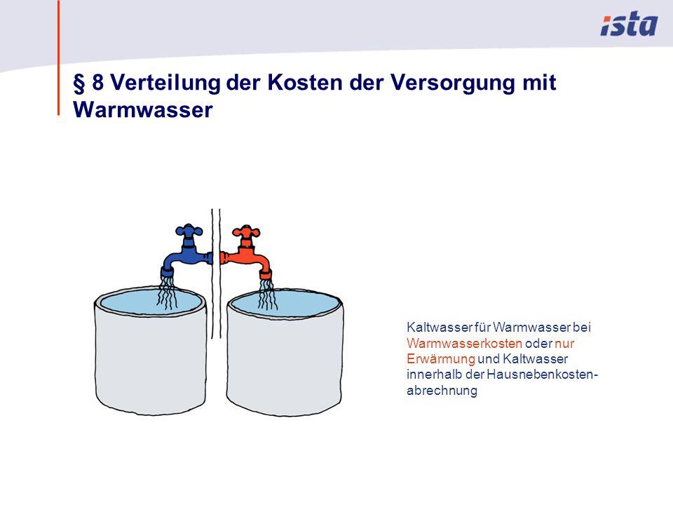 Max Mustermann · Name der Präsentation · 00 Monat 2004 · Seite 0 § 8 Verteilung der Kosten der Versorgung mit Warmwasser Kaltwasser für Warmwasser bei Warmwasserkosten oder nur Erwärmung und Kaltwasser innerhalb der Hausnebenkosten- abrechnung