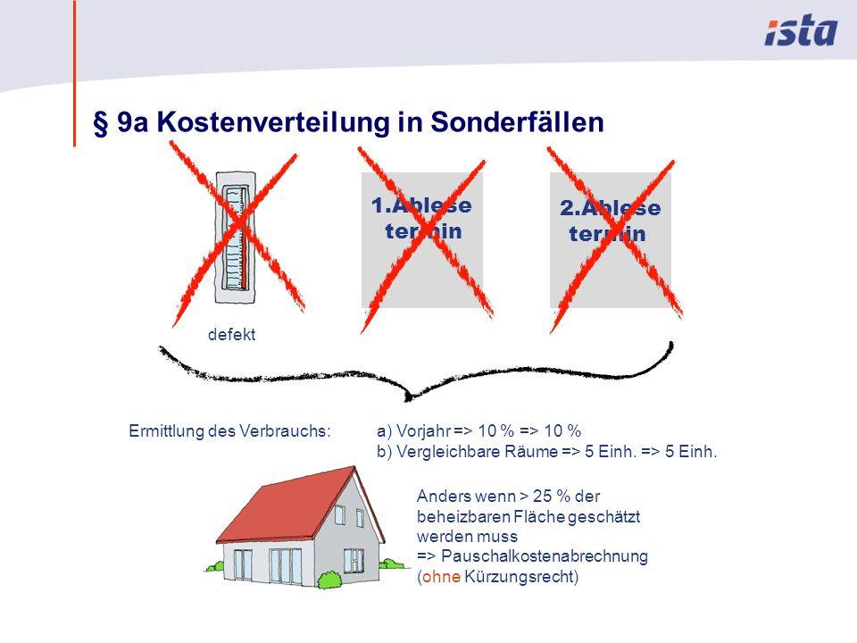 Max Mustermann · Name der Präsentation · 00 Monat 2004 · Seite 0 § 9a Kostenverteilung in Sonderfällen Anders wenn > 25 % der beheizbaren Fläche geschätzt werden muss => Pauschalkostenabrechnung (ohne Kürzungsrecht) defekt 1.Ablese termin 2.Ablese termin Ermittlung des Verbrauchs: a) Vorjahr => 10 % => 10 % b) Vergleichbare Räume => 5 Einh.