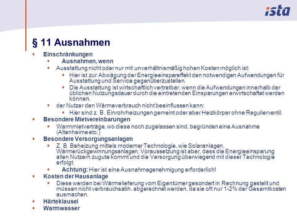 Max Mustermann · Name der Präsentation · 00 Monat 2004 · Seite 0 § 11 Ausnahmen Einschränkungen Ausnahmen, wenn Ausstattung nicht oder nur mit unverhältnismäßig hohen Kosten möglich ist: Hier ist zur Abwägung der Energieeinspareffekt den notwendigen Aufwendungen für Ausstattung und Service gegenüberzustellen.