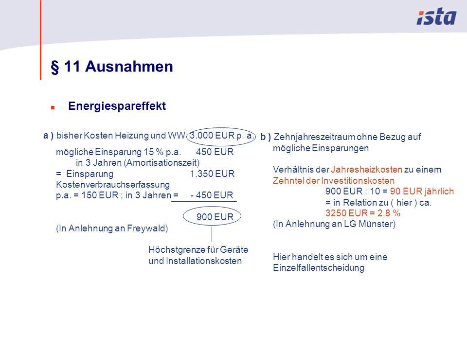 Max Mustermann · Name der Präsentation · 00 Monat 2004 · Seite 0 § 11 Ausnahmen n Energiespareffekt a ) bisher Kosten Heizung und WW 3.000 EUR p. a. m