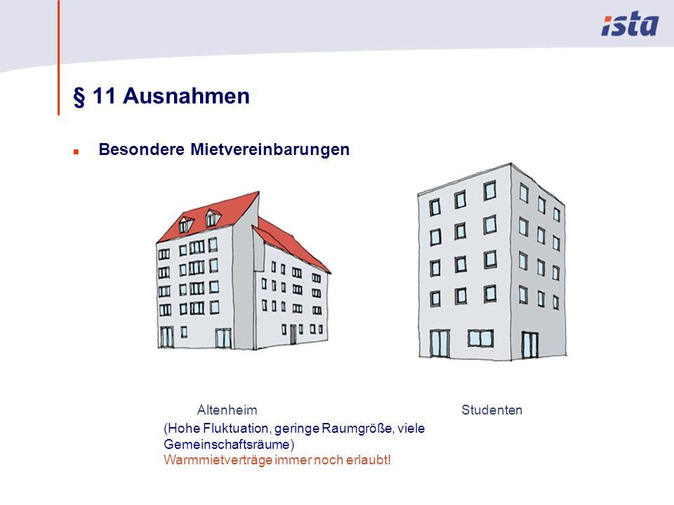 Max Mustermann · Name der Präsentation · 00 Monat 2004 · Seite 0 § 11 Ausnahmen n Besondere Mietvereinbarungen AltenheimStudenten (Hohe Fluktuation, geringe Raumgröße, viele Gemeinschaftsräume) Warmmietverträge immer noch erlaubt!