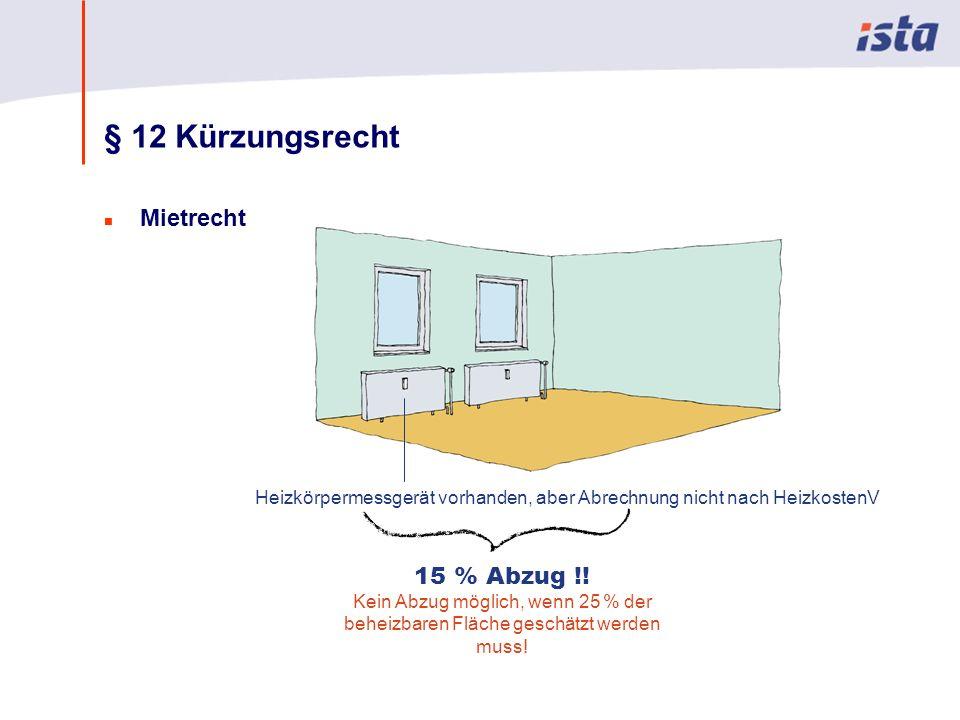 Max Mustermann · Name der Präsentation · 00 Monat 2004 · Seite 0 § 12 Kürzungsrecht n Mietrecht Heizkörpermessgerät vorhanden, aber Abrechnung nicht nach HeizkostenV 15 % Abzug !.