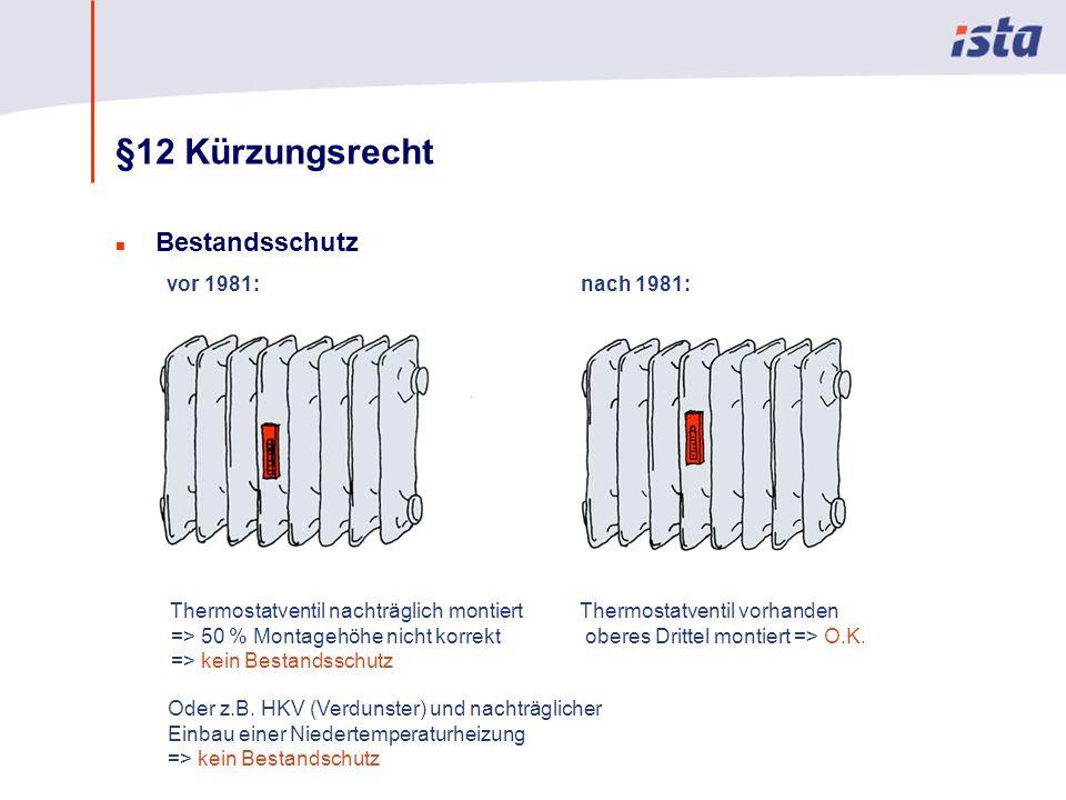 Max Mustermann · Name der Präsentation · 00 Monat 2004 · Seite 0 §12 Kürzungsrecht n Bestandsschutz vor 1981: Thermostatventil vorhanden oberes Drittel montiert => O.K.