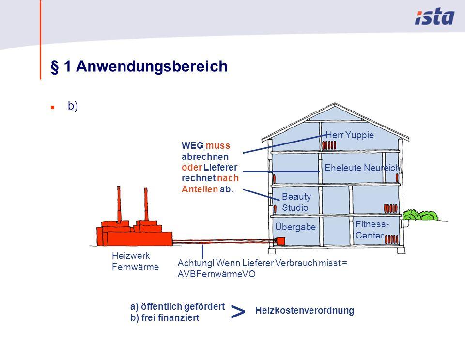 Max Mustermann · Name der Präsentation · 00 Monat 2004 · Seite 0 § 1 Anwendungsbereich n b) Heizwerk Fernwärme a) öffentlich gefördert b) frei finanzi