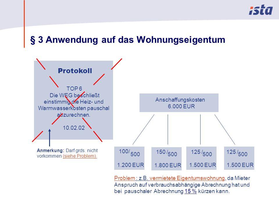 Max Mustermann · Name der Präsentation · 00 Monat 2004 · Seite 0 § 3 Anwendung auf das Wohnungseigentum Problem : z.B. vermietete Eigentumswohnung, da
