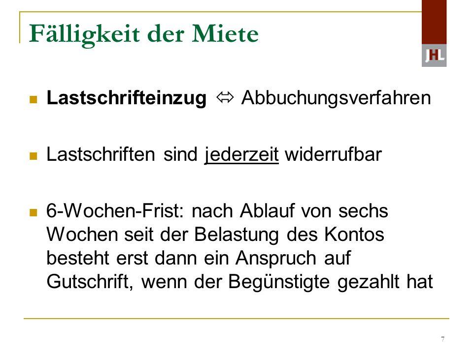 18 Zahlungsverzug Laufend geschuldete Mieten z.B.Betriebskostennachforderung Kündigung gem.