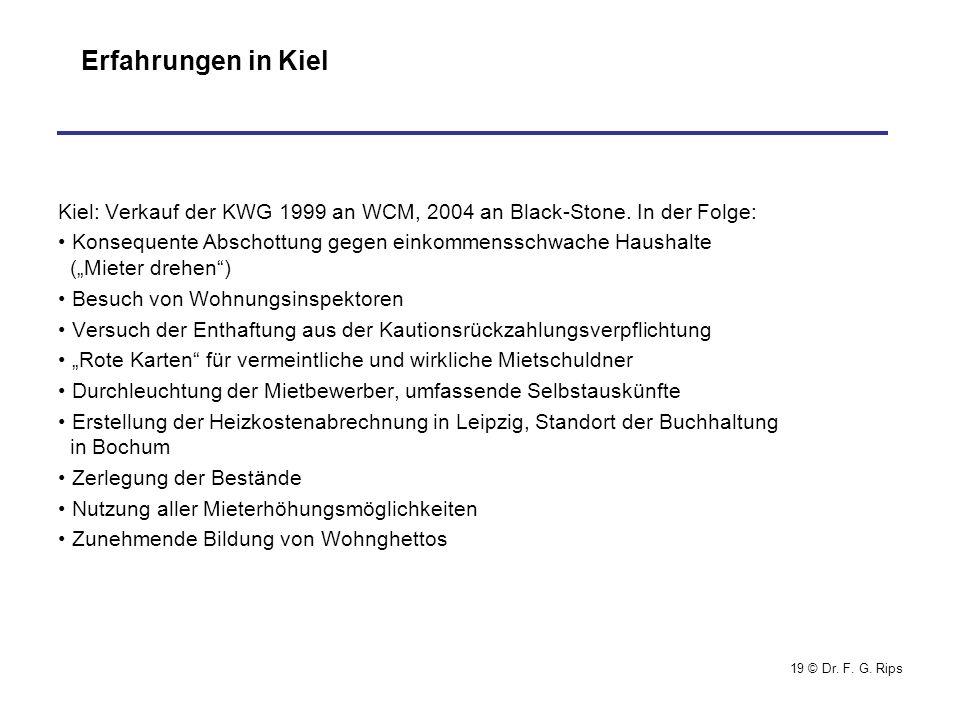 19 © Dr.F. G. Rips Erfahrungen in Kiel Kiel: Verkauf der KWG 1999 an WCM, 2004 an Black-Stone.
