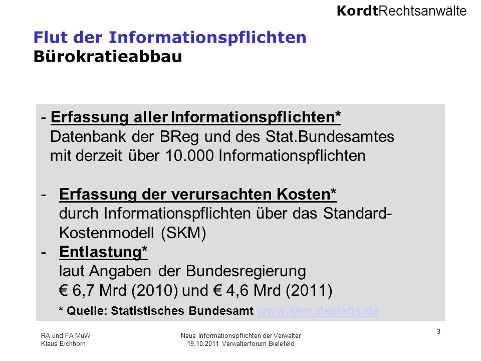 Kordt Rechtsanwälte RA und FA MuW Klaus Eichhorn Neue Informationspflichten der Verwalter 19.10.2011 Verwalterforum Bielefeld 3 Flut der Informationsp