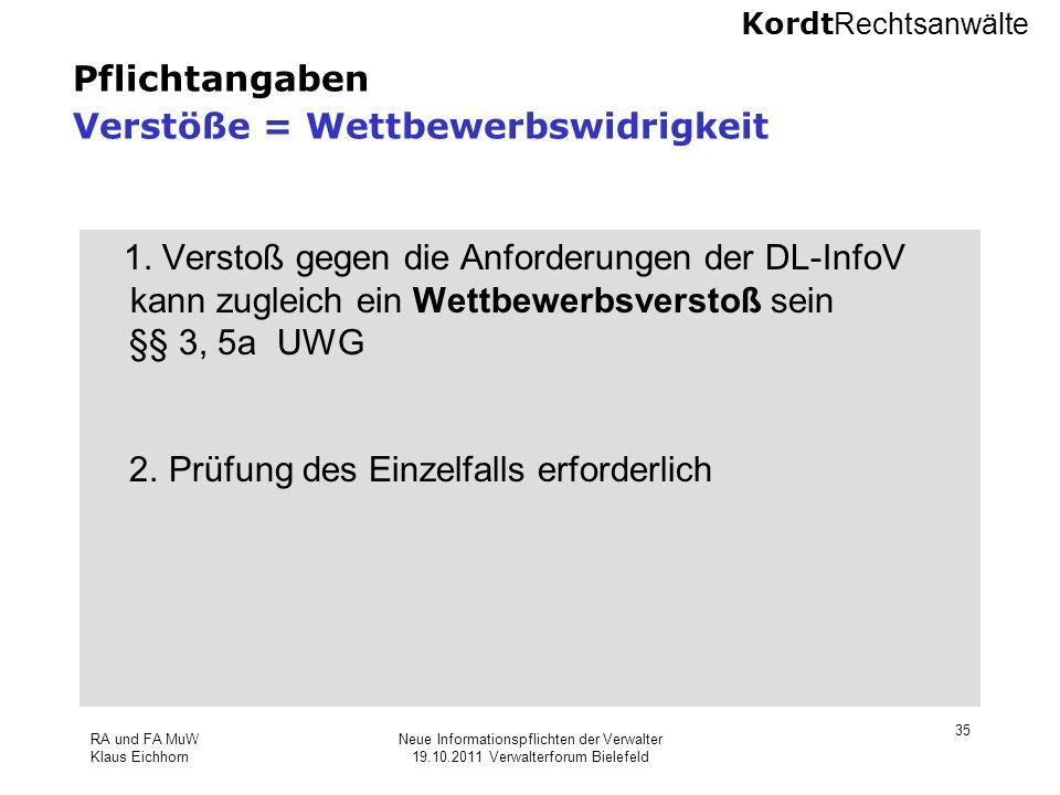 Kordt Rechtsanwälte RA und FA MuW Klaus Eichhorn Neue Informationspflichten der Verwalter 19.10.2011 Verwalterforum Bielefeld 35 Pflichtangaben Verstö
