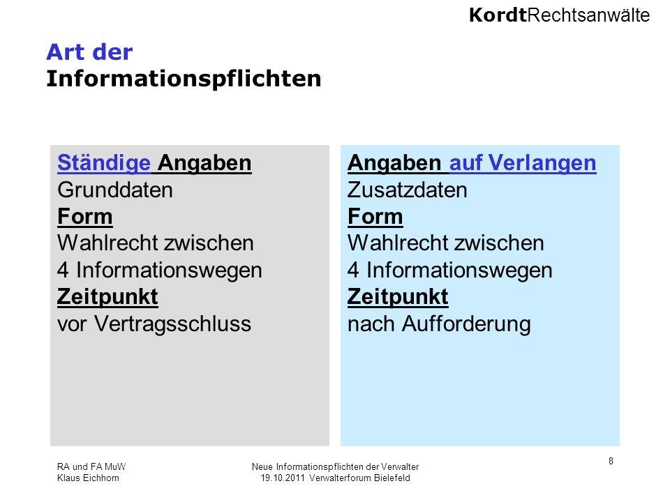 Kordt Rechtsanwälte RA und FA MuW Klaus Eichhorn Neue Informationspflichten der Verwalter 19.10.2011 Verwalterforum Bielefeld 8 Art der Informationspf