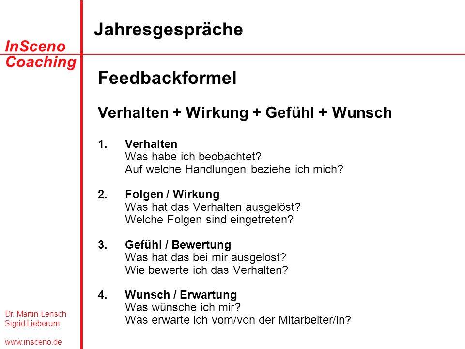 Dr. Martin Lensch Sigrid Lieberum www.insceno.de InSceno Coaching Jahresgespräche Feedbackformel Verhalten + Wirkung + Gefühl + Wunsch 1.Verhalten Was