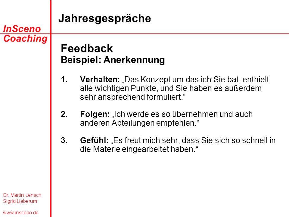 Dr. Martin Lensch Sigrid Lieberum www.insceno.de InSceno Coaching Jahresgespräche Feedback Beispiel: Anerkennung 1.Verhalten: Das Konzept um das ich S