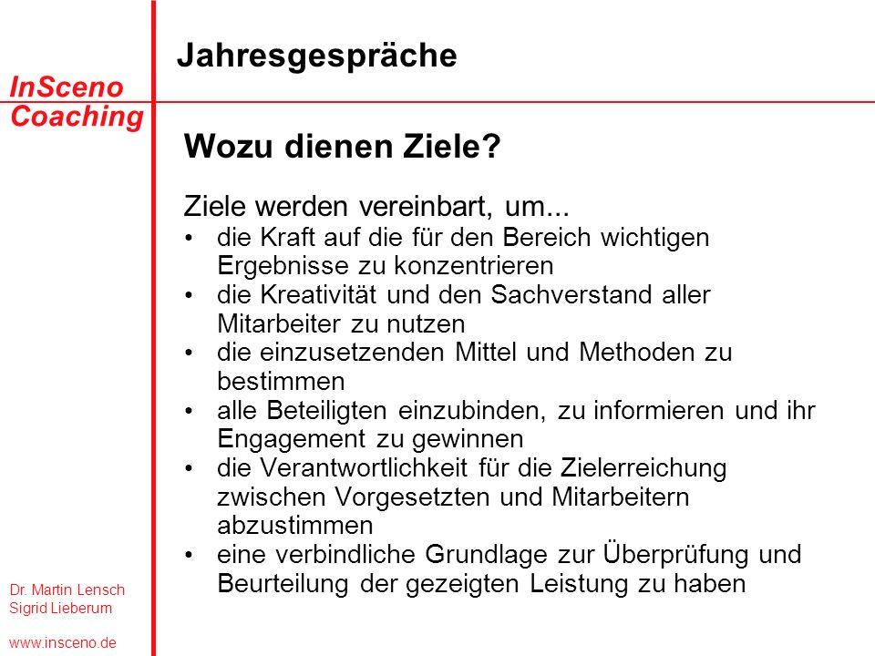 Dr. Martin Lensch Sigrid Lieberum www.insceno.de InSceno Coaching Jahresgespräche Wozu dienen Ziele? Ziele werden vereinbart, um... die Kraft auf die