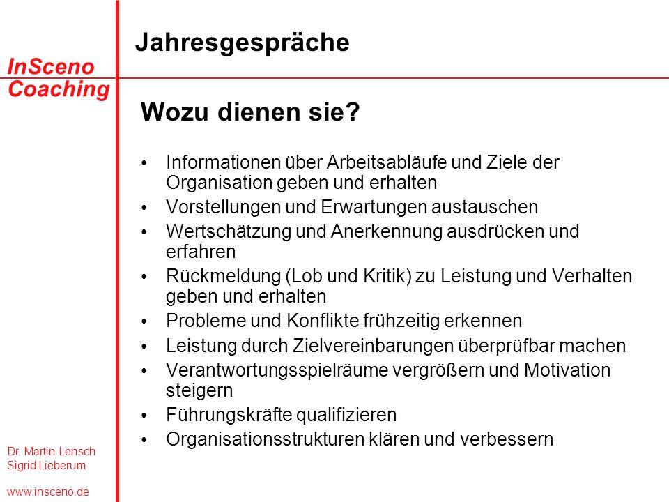 Dr. Martin Lensch Sigrid Lieberum www.insceno.de InSceno Coaching Jahresgespräche Wozu dienen sie? Informationen über Arbeitsabläufe und Ziele der Org