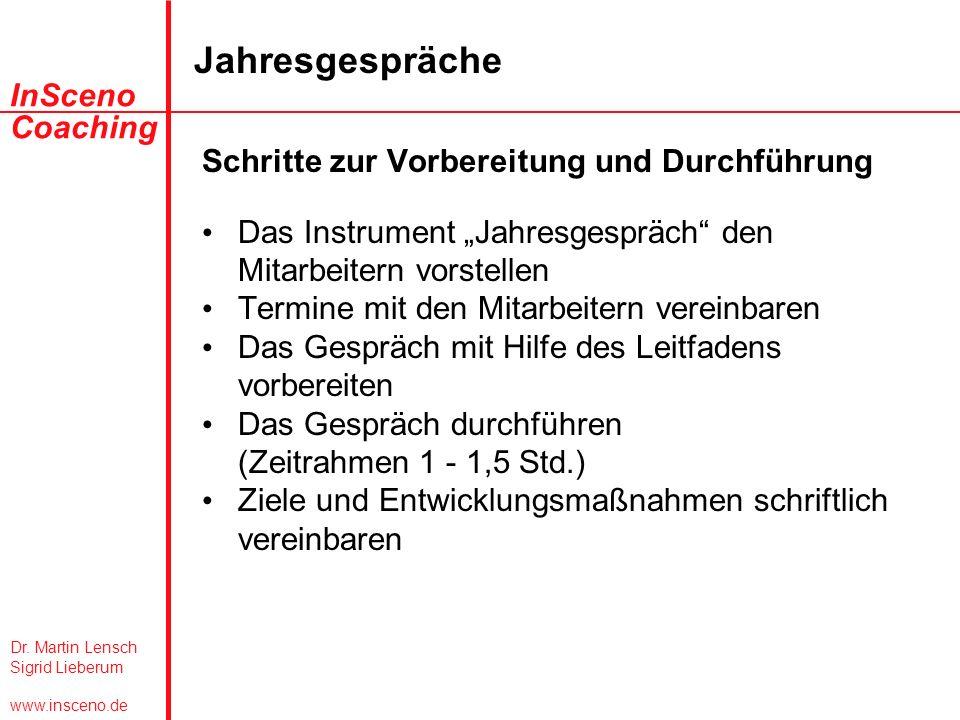 Dr. Martin Lensch Sigrid Lieberum www.insceno.de InSceno Coaching Jahresgespräche Schritte zur Vorbereitung und Durchführung Das Instrument Jahresgesp