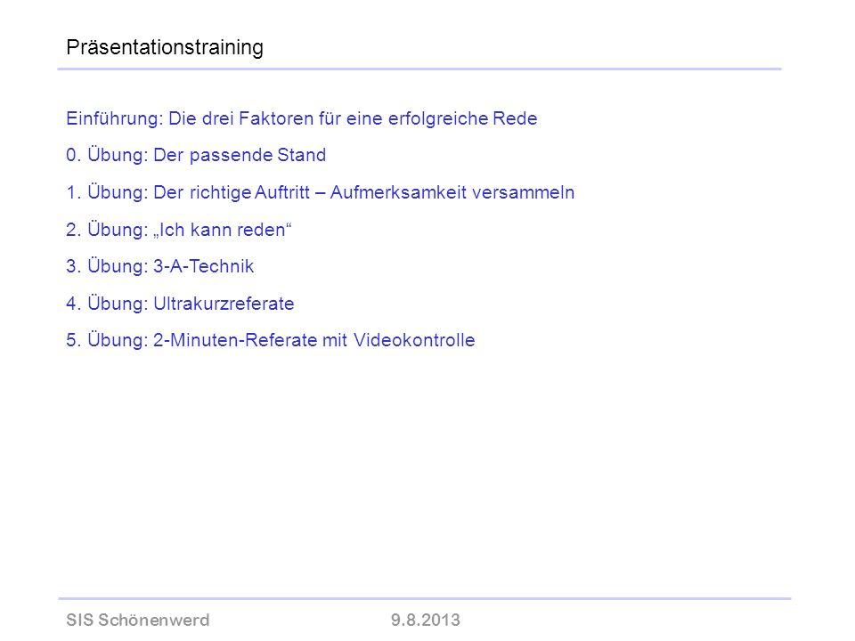 SIS Schönenwerd9.8.2013 wolfram-thom.de Einführung: Die drei Faktoren für eine erfolgreiche Rede 0. Übung: Der passende Stand 1. Übung: Der richtige A