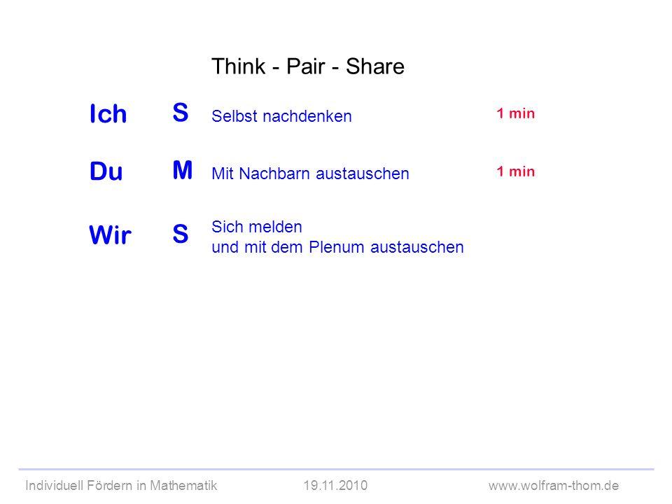Individuell Fördern in Mathematik19.11.2010www.wolfram-thom.de Think - Pair - Share S M S Selbst nachdenken Sich melden und mit dem Plenum austauschen