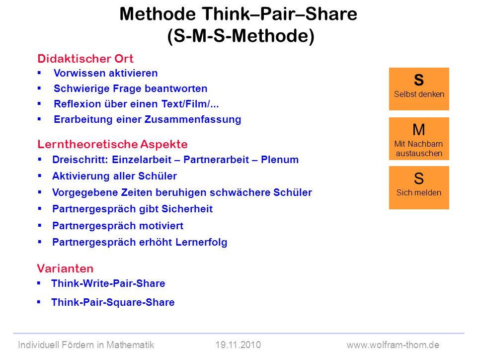 Individuell Fördern in Mathematik19.11.2010www.wolfram-thom.de Didaktischer Ort Vorwissen aktivieren Schwierige Frage beantworten Reflexion über einen