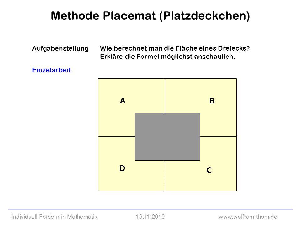 Individuell Fördern in Mathematik19.11.2010www.wolfram-thom.de AufgabenstellungWie berechnet man die Fläche eines Dreiecks? Erkläre die Formel möglich