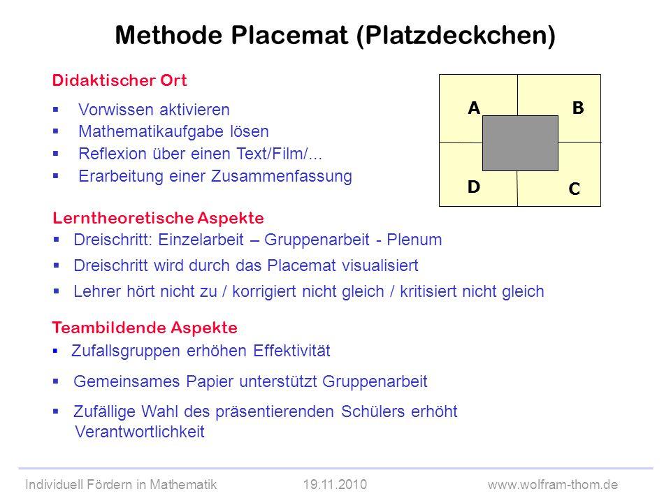 Individuell Fördern in Mathematik19.11.2010www.wolfram-thom.de Didaktischer Ort Vorwissen aktivieren Mathematikaufgabe lösen Reflexion über einen Text