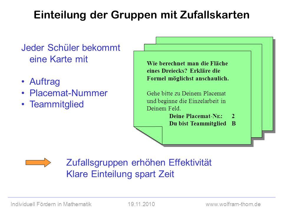 Individuell Fördern in Mathematik19.11.2010www.wolfram-thom.de Einteilung der Gruppen mit Zufallskarten Jeder Schüler bekommt eine Karte mit Auftrag P