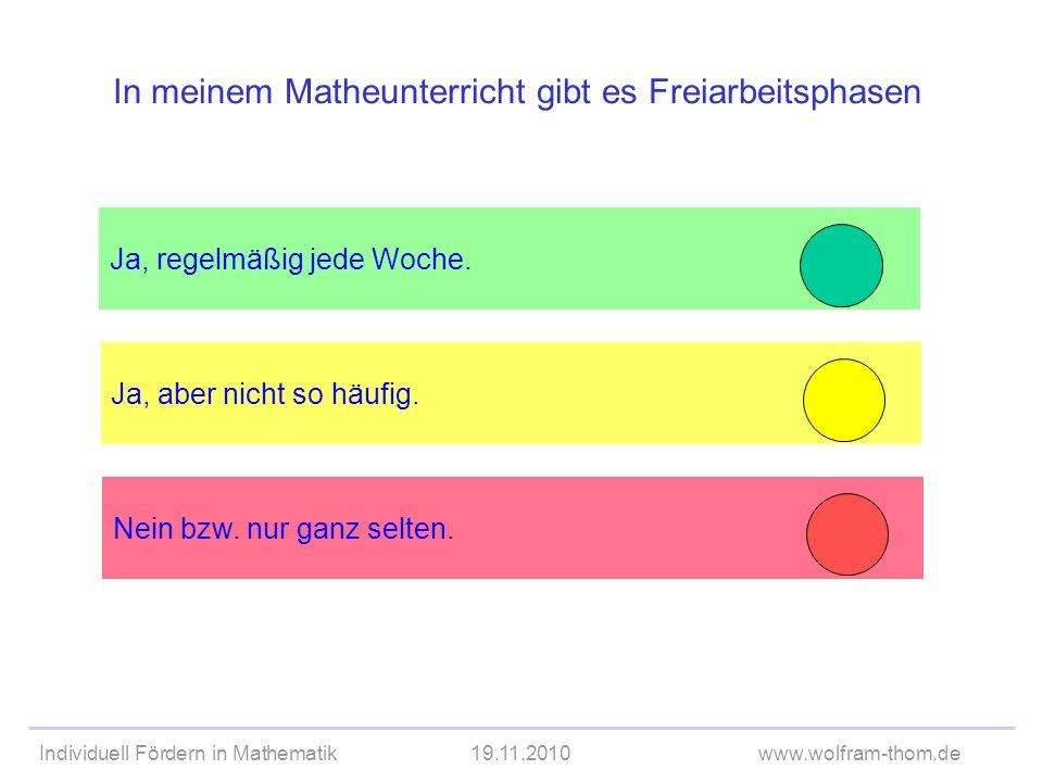 Individuell Fördern in Mathematik19.11.2010www.wolfram-thom.de Ja, aber nicht so häufig. Ja, regelmäßig jede Woche. In meinem Matheunterricht gibt es