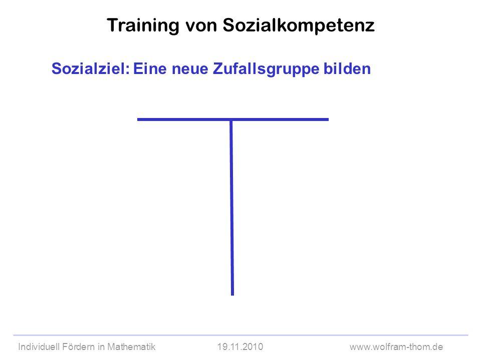 Individuell Fördern in Mathematik19.11.2010www.wolfram-thom.de Sozialziel: Eine neue Zufallsgruppe bilden Training von Sozialkompetenz