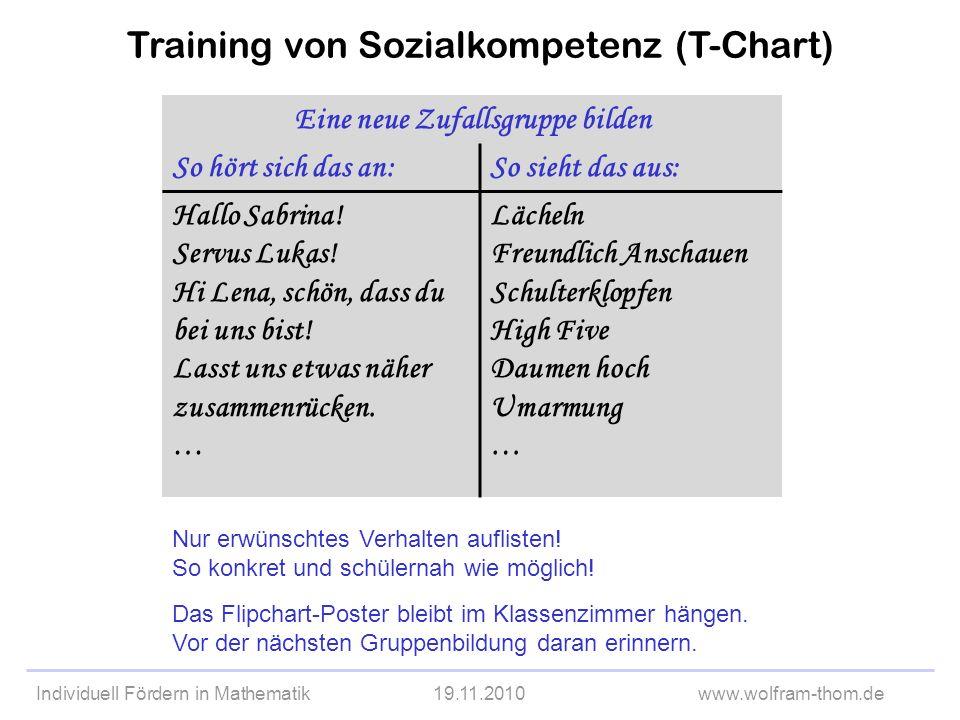 Individuell Fördern in Mathematik19.11.2010www.wolfram-thom.de Training von Sozialkompetenz (T-Chart) Eine neue Zufallsgruppe bilden So hört sich das