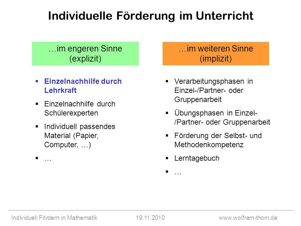 Individuell Fördern in Mathematik19.11.2010www.wolfram-thom.de Methoden des Kooperativen Lernens Think-Pair-Share Placemat Training der Sozialkompetenz Gruppenpuzzle