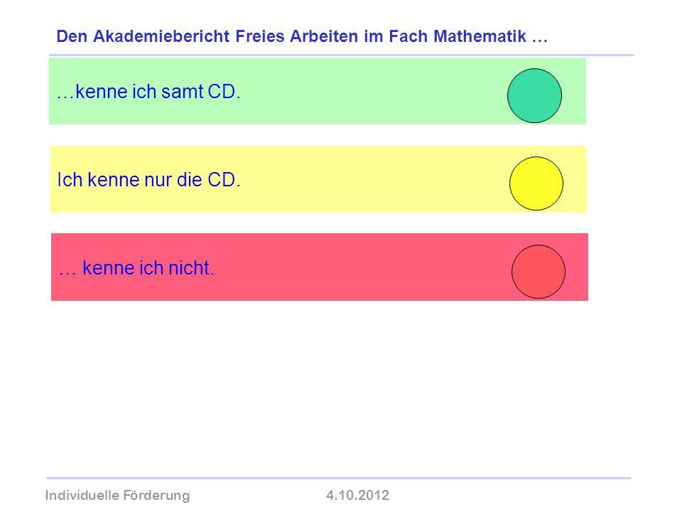 Individuelle Förderung4.10.2012 wolfram-thom.de Ich kenne nur die CD. …kenne ich samt CD. Den Akademiebericht Freies Arbeiten im Fach Mathematik … … k