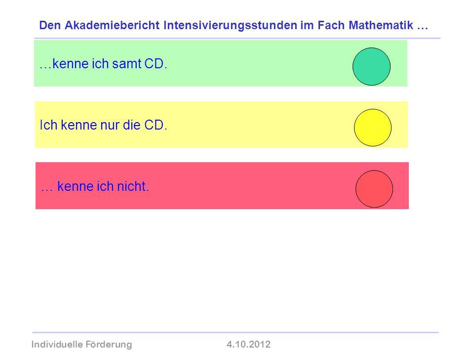Individuelle Förderung4.10.2012 wolfram-thom.de Ich kenne nur die CD. …kenne ich samt CD. Den Akademiebericht Intensivierungsstunden im Fach Mathemati