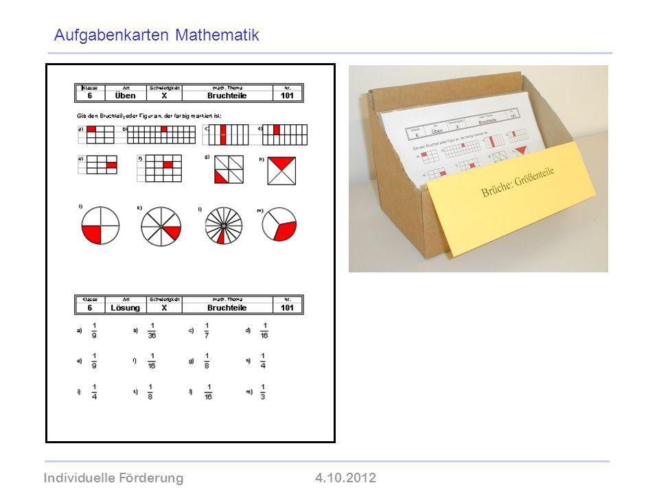 Individuelle Förderung4.10.2012 wolfram-thom.de Aufgabenkarten Mathematik