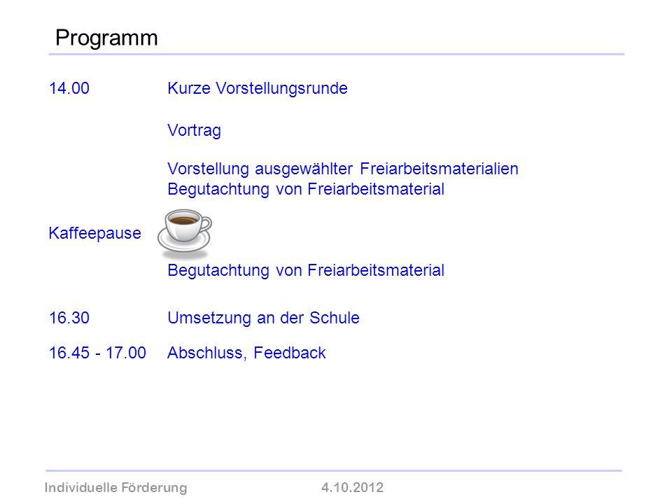 Individuelle Förderung4.10.2012 wolfram-thom.de Programm 14.00Kurze Vorstellungsrunde Vortrag Vorstellung ausgewählter Freiarbeitsmaterialien Begutach